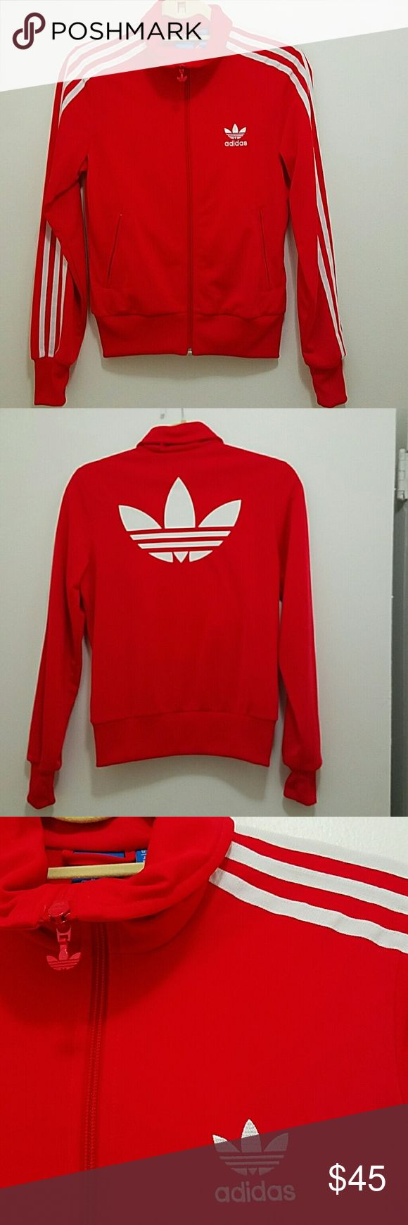 Adidas Track Jacket No Trades!!!! Red and White Adidas Track jacket in Great Condition!!!! Adidas Jackets & Coats