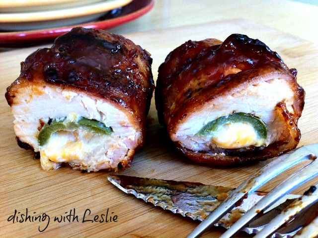 Chicken Bombs - bacon wrapped chicken breasts stuffed with cheddar, cream cheese, and jalapenos.