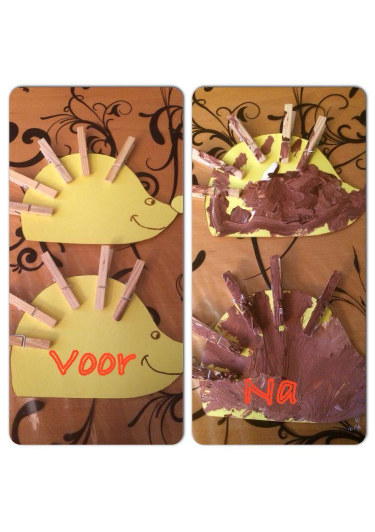 Egels verven voor de herfst met de kinderen van Kinderopvang Syl uit Bodegraven.