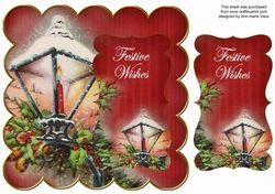 Red Christmas Lantern Festive Wishes 8in Scallop Topper on Craftsuprint - View Now!