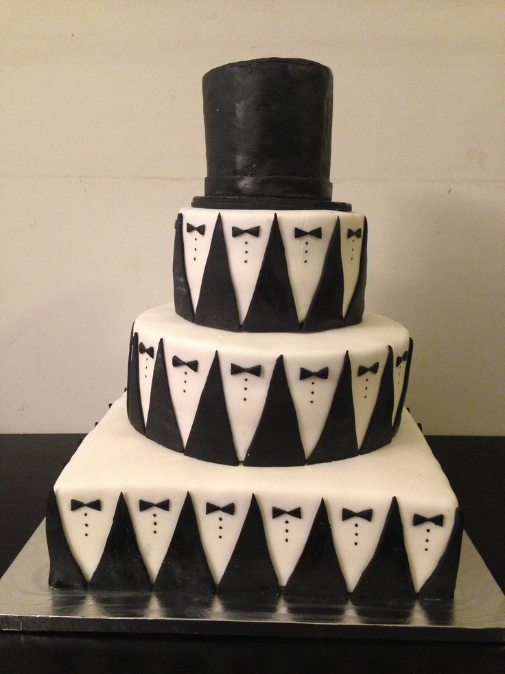 Suit Amp Tie Tuxedo Cake With Top Hat Cake Decorating