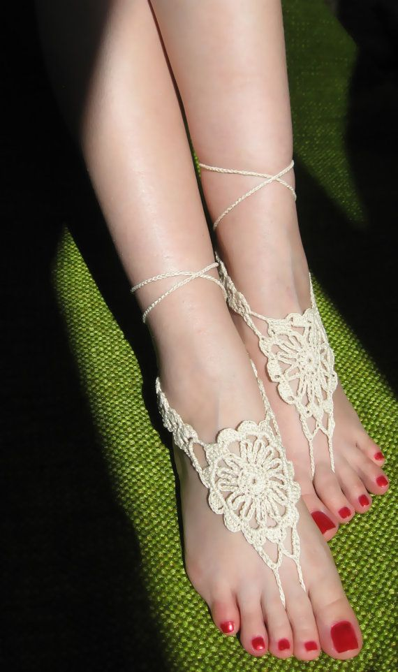 Ivory Flower Barefoot Sandal, Wedding, Foot Jewerly,Bridal, Victorian Lace, Anklet, Gift  $13.00 USD