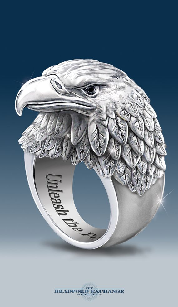 Unleash the power of our Strength and Pride ring! It showcases an original Bradford Exchange jewelry design with a 3-dimensional eagle head and two genuine black sapphires (for his eyes). Spread your wings and soar with this stainless steel men's ring, backed by the best guarantee in the business.