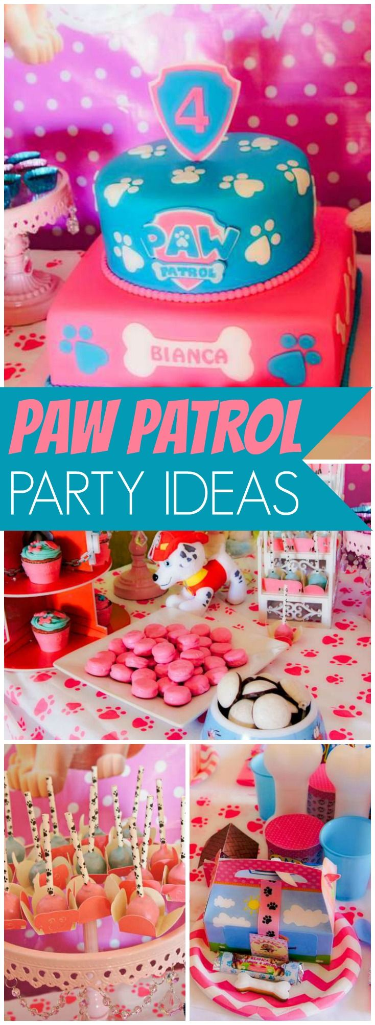 Check out this pink Paw Patrol girl birthday party! See more party ideas at CatchMyParty.com!