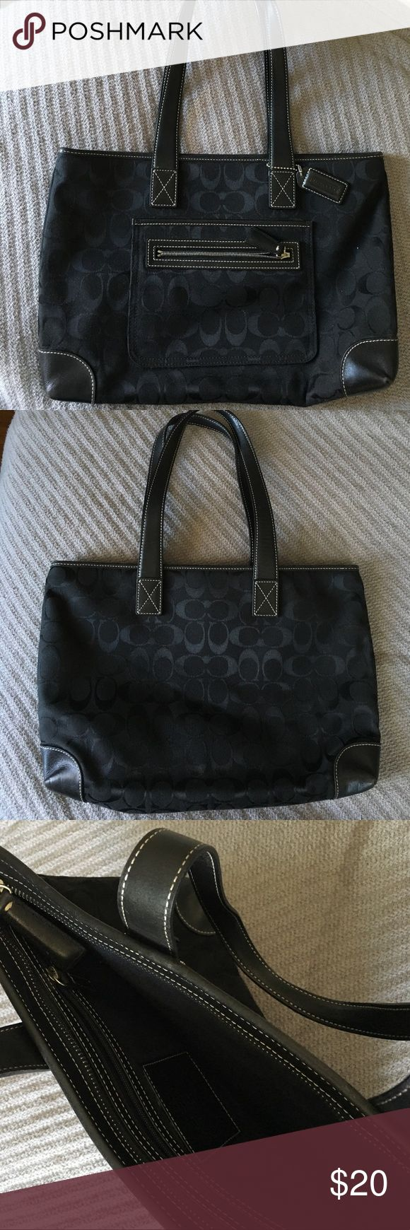 Coach pocketbook Classic black coach bag with zipper. Zippered compartment on outside and inside.  Bag is 8 inches high and 12 inches long. Very good used condition. Coach Bags Shoulder Bags