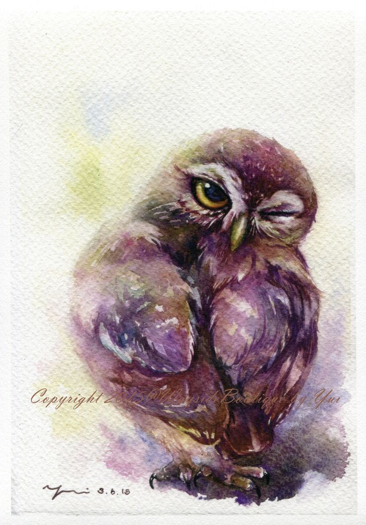 """PRINT – The Owl Look Behind Watercolor painting 7.5 x 11"""" by WaysideBoutique on Etsy"""