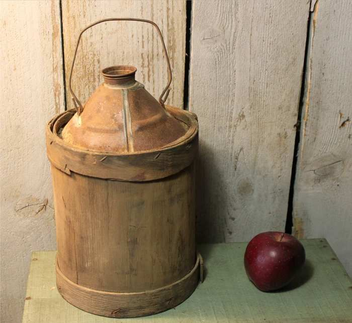 Antique Wood Wrapped Metal Can Jug With Dome Top