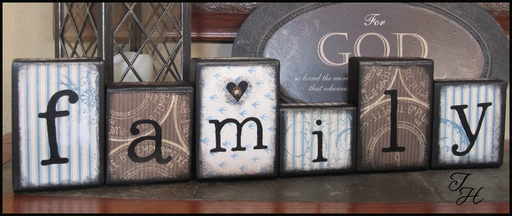 Home decor wood word art family distressed blocks by for Decoration word
