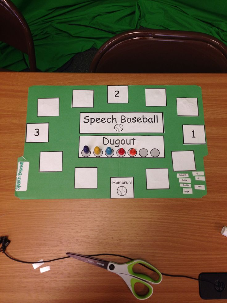Students practice articulation words while playing baseball! Kids can draw homerun, triple, double, single, or a number or they may even get out. Kids love this game in speech therapy.