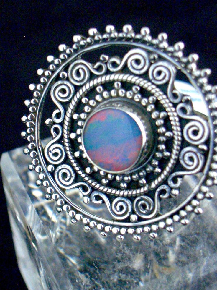 Australian Opal Incredible Genuine Gemstone 925 Sterling Silver Statement Ring Jewellery Size 9. Please check all photos to see the colors! by Ameogem on Etsy