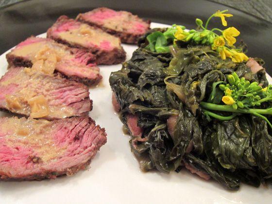 Steak au poivre with braised gai choy (Chinese mustard)