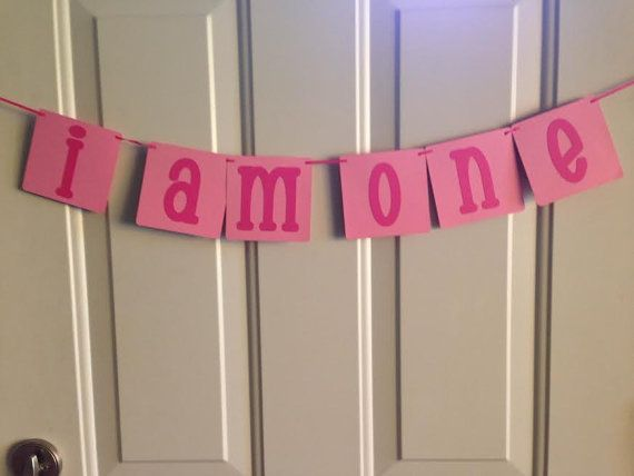 I AM ONE Birthday Banner ~ Ready to Ship ~ 2 tone Pink First Birthday, Photo Prop Banner, 1st birthday, Ready made birthday banner,