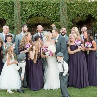Gorgeous Bridal Party Wearing Gray And Dark Purple With White Lavendar Flowers Celebrate Bride