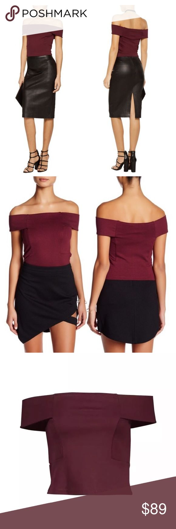 """Walter Baker Eve Off Shoulder Top Burgundy Medium Details - Off-the-shoulder - Sleeveless - Partial cutout - Cropped Armpit to armpit:16"""" Length:16"""" Brand new with tags!! Retails for $148.00 Walter Baker Tops Blouses"""