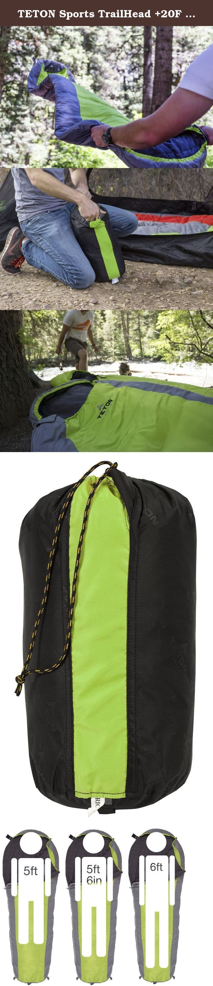 TETON Sports TrailHead +20F Ultralight Sleeping Bag Perfect for Backpacking, Hiking, and Camping; Green/Grey. Finally, a mummy bag designed for comfort and weight reduction. Longer and wider than most mummy bags, the TETON Sports TrailHead +20°F has a soft, breathable liner and an extended foot box with room for toes. Unzip from top or bottom with both interior and exterior zipper pulls so when the mummy hood is cinched, you can still close bag all the way. Safety Velcro tab to make sure…