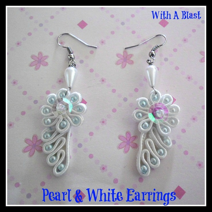 With A Blast: Pearl  White Earrings .. quick DIY - make these in 20 minutes !