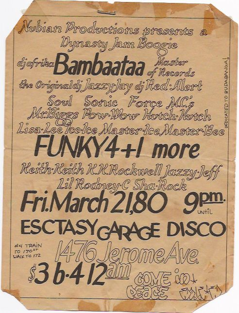 Most of the Old School Party Flyers were Designed By Buddy Esquire and Phase 2. Phase 2 was a real big Aerosol Artist who wrote on allot of the NYC Trains who also did a majority of the Party Flyers back then. Buddy Esquire was a regular Artist who did allot of party flyers as well.   These Cats Worked on big Art tables and had all the tools to make these flyers by hand including those Rub on Letters, wax Machines, exacto knives, Graph Paper and many other tools that are extinct today in the…