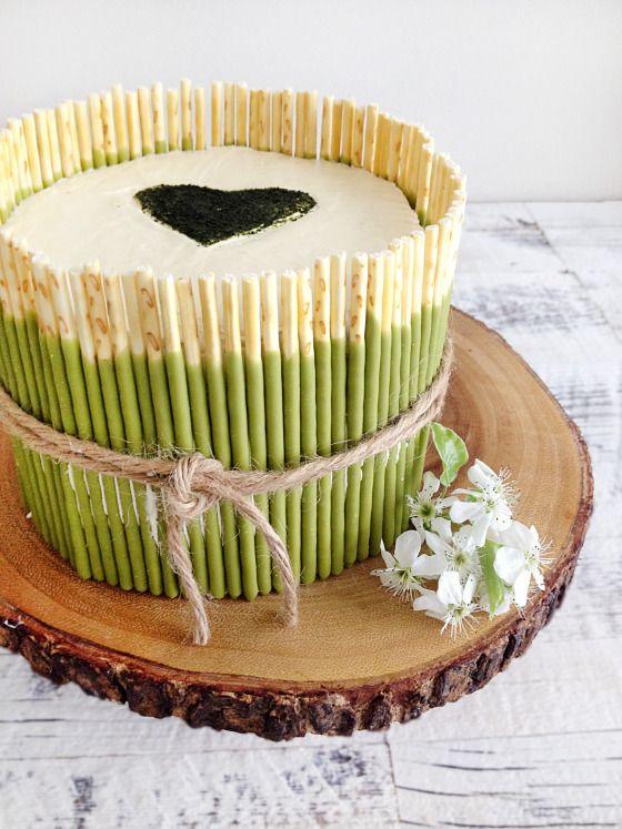 Tarta de Chocolate y Té Matcha / Chocolate and Matcha Green Tea Cake  mikado style