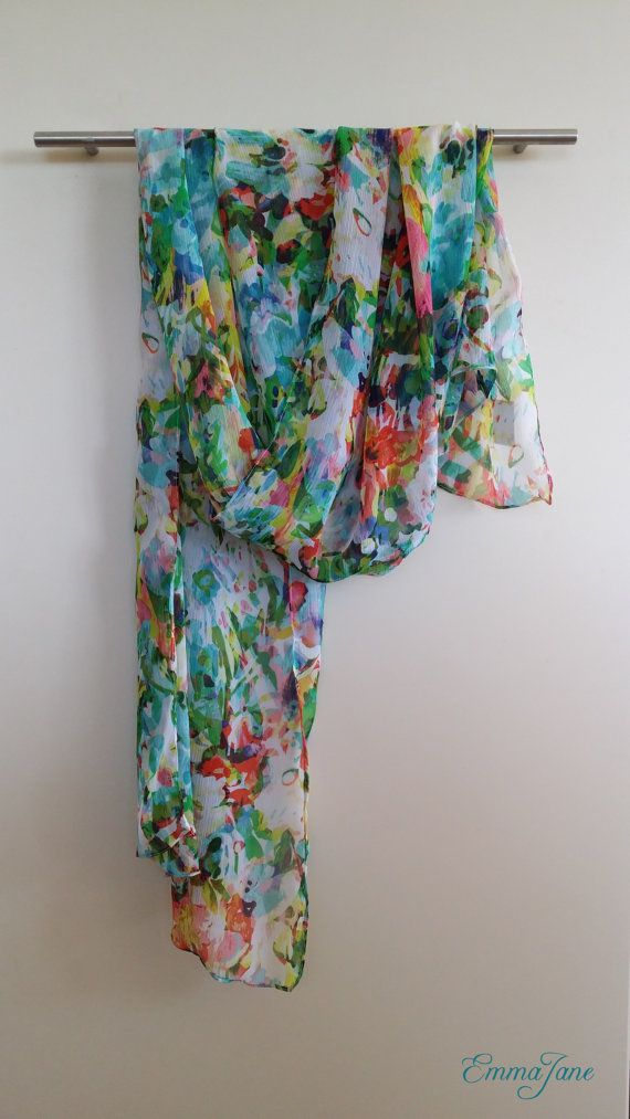 Summer scarf - garden. Check out this item in my Etsy shop https://www.etsy.com/listing/208192127/summer-scarf-garden