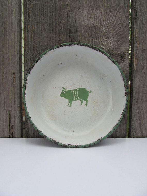 Everyone needs a little farm house charm in their kitchen! Vintage Pig Rustic Decorative Bowl by InspireDesignBySarah on Etsy