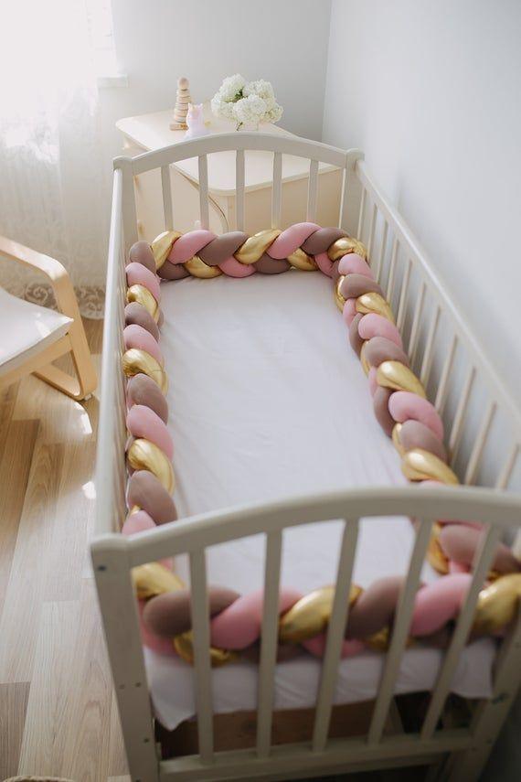 Braided Crib Bumper Pastel Gold Braided Cot Bumper Knot Pillow Bolster Pillow Nursery Decor Cushion Crib Bedding Baby Shower Baby Gift Braided Crib Bumper
