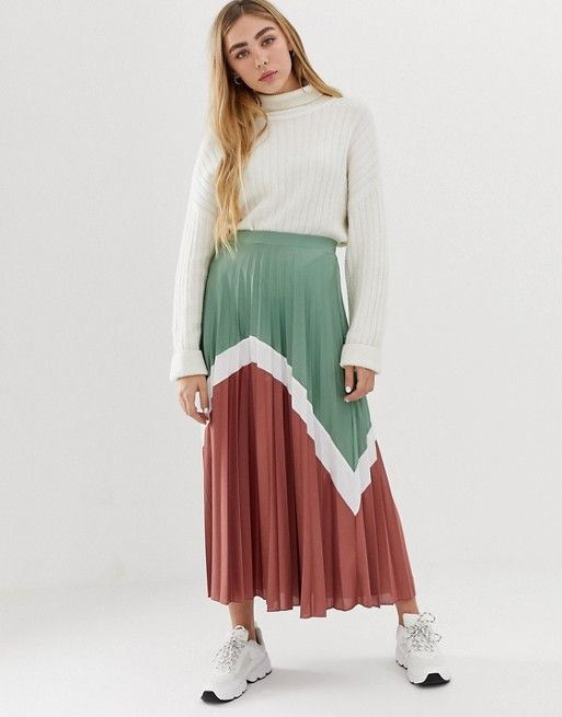 5c9db4d1b4 DESIGN color block pleated midi skirt in 2019 | Clothes | Pleated ...
