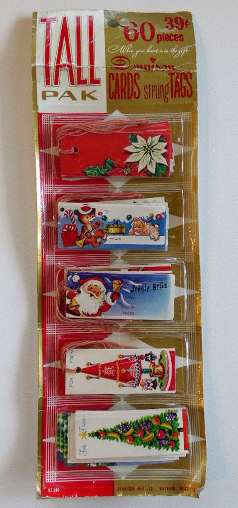 NIP Vintage Tall Pak Dennison Cards Strung Christmas Gift Tags Pack of 60 | eBay