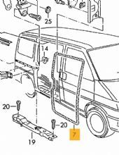 GENUINE VW T4 High-Top Sliding Door Rubber Seal, LEFT