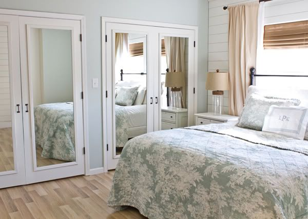 How to change bifold closet doors into French doors...I actually really like the look of these closets!