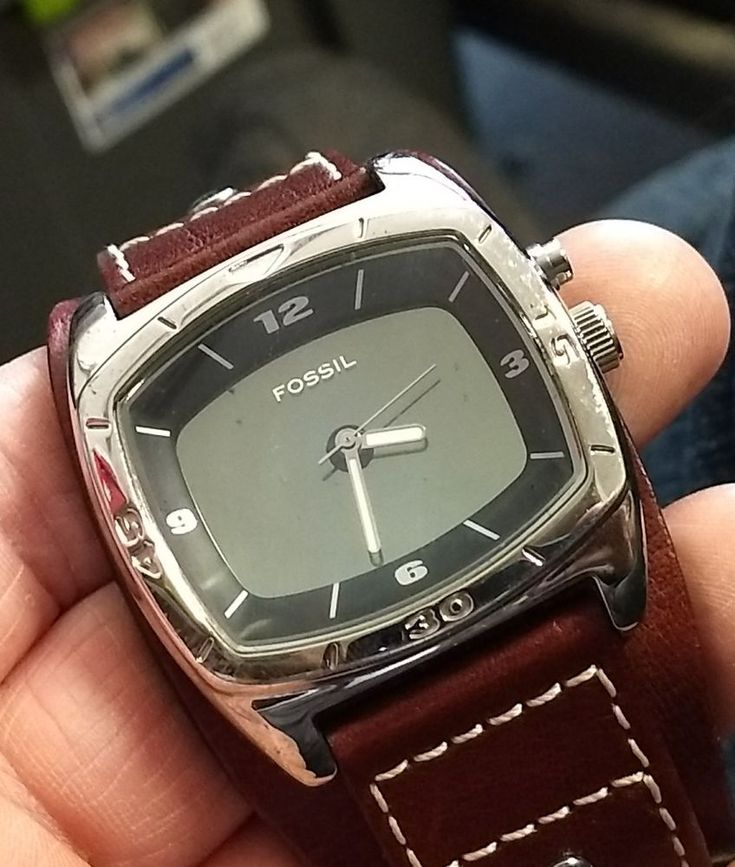 Handsome Fossil men's watch. Retro style with wide band. 40mm case.  | eBay