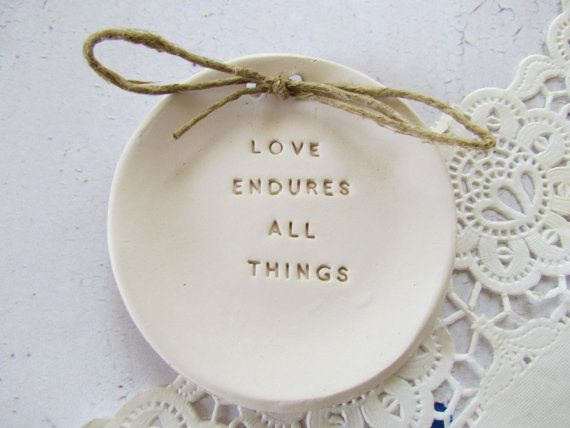 Love endures all things Wedding ring bearer, Ring dish, Alternative ring pillow by orlydesign, $35.00