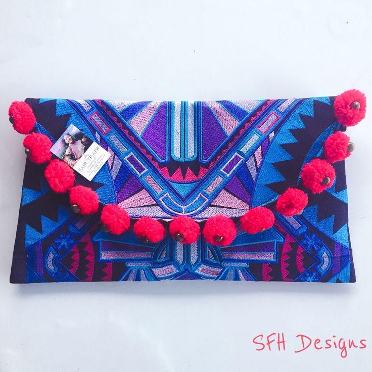 Poms & Stripes Clutch / SFH Designs