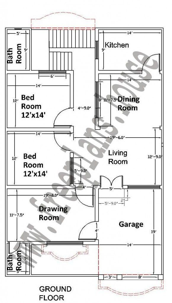 35x55 Feet House Plan Plans Pinterest Simple House