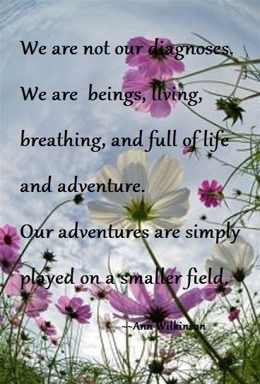 """we are not our diagnoses. we are beings, living, breathing, and full of life and adventure. our adventures are simply played on a smaller field."" ~ann wilkinson"