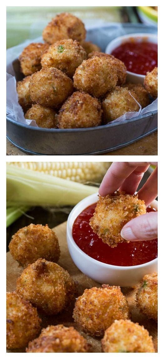 Grits Fritters with Bacon and Cheese and a Pepper Jelly Dipping Sauce
