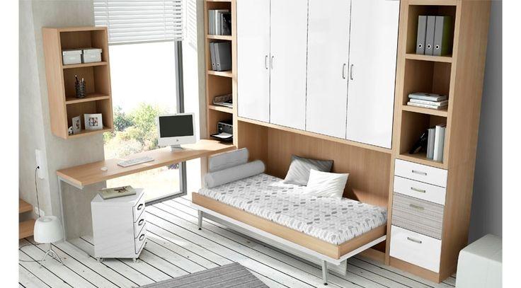 Mueble cama individual con armario encima