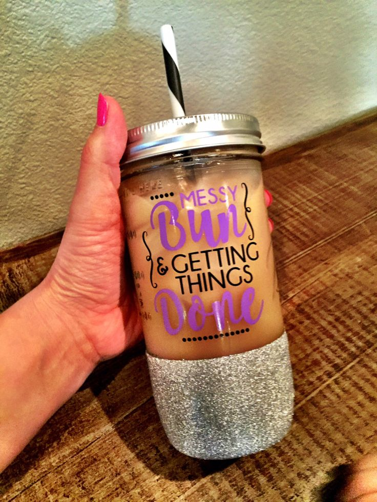 Messy Bun and Getting Things Done, Glitter Dipped Tumbler, Glitter Dipped Mason Jar, Mom Bun, Mothers Day, Mom gift by SipSoSweet on Etsy https://www.etsy.com/listing/274354770/messy-bun-and-getting-things-done
