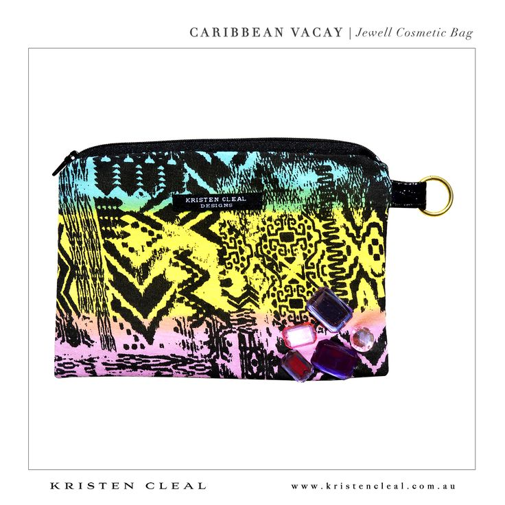 Jewell Cosmetic Bag by Kristen Cleal Designs  Caribbean Vacay 2014 Collection