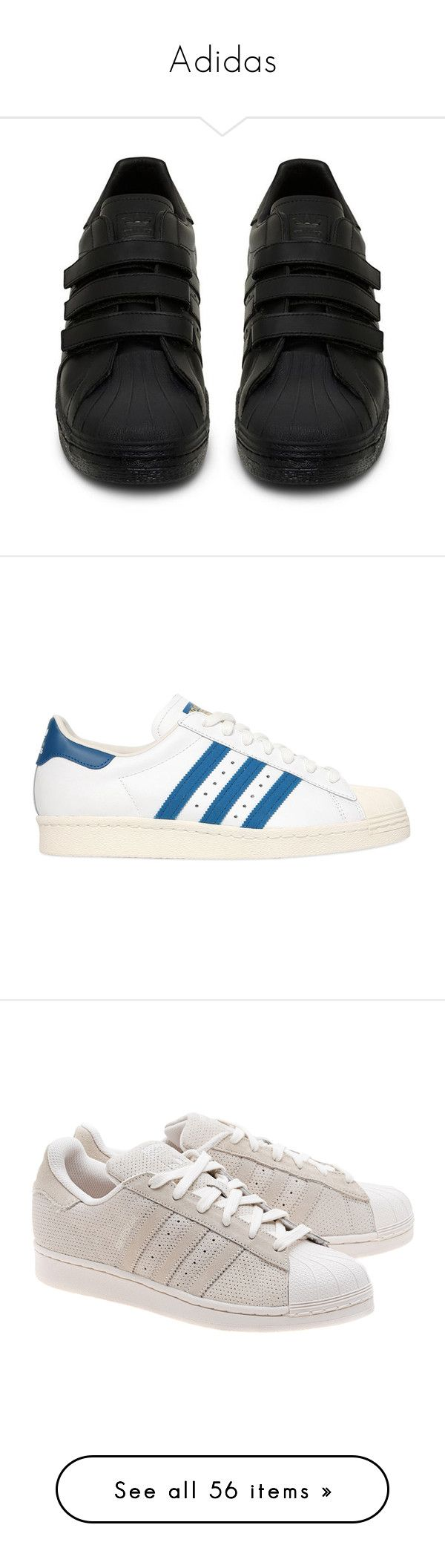"""""""Adidas"""" by doggydoddyfroggymoppy ❤ liked on Polyvore featuring shoes, sneakers, leather shoes, leather low top sneakers, black leather trainers, adidas shoes, low top, adidas, rubber sole shoes and unisex shoes"""
