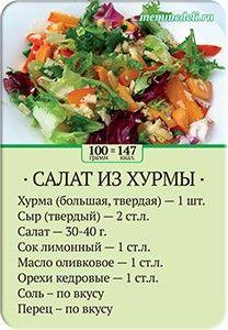 Карточка рецепта Салат из хурмы