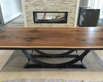 Live Edge Black Walnut Dining Table With Half Moon Base   Live Edge Designs  By Plank