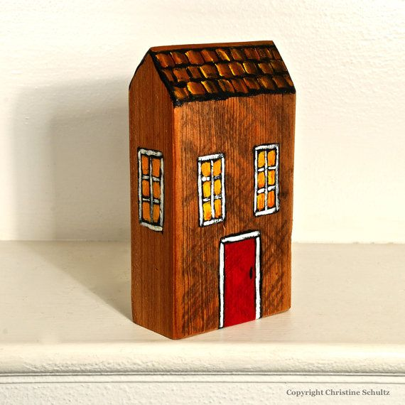 House Painting on Reclaimed Barnwood Block by TaylorArts on Etsy