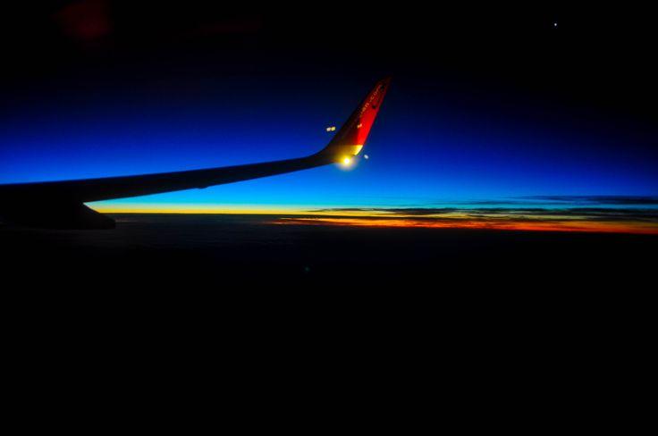 Gran Canaria, wschód słońca (widok z samolotu)
