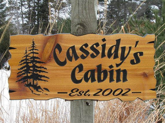 Personalized Cabin Signs - Routed Wood Signs - Cedar Cabin Signs - Carved Wooden Signs on Etsy, $75.00