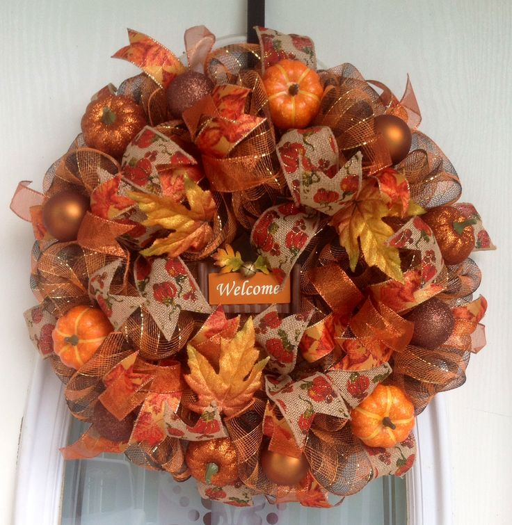 "22"" Brown/Orange/Gold Deco Mesh Fall Wreath"