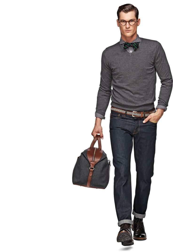 Black V Neck Sweater With Tie 75