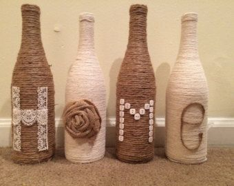 HOME wine bottles by LandisByDesign on Etsy
