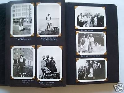 Vintage Family Photos I still have my album like this my mom started for me when I was born. Looks just about identical- the black pages and the corner tabs.