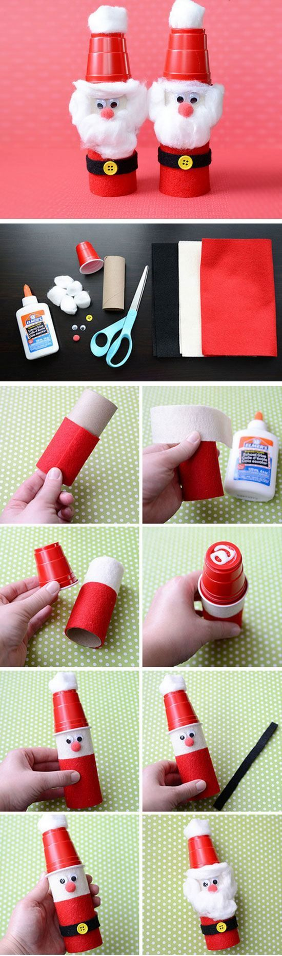 Paper Roll & Plastic Cup Santas | Click for 25 DIY Christmas Crafts for Kids to Make | DIY Christmas Decorations for Kids to Make
