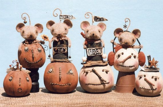 "Primitive PATTERN ""Pumpkin & Snowball Snowman Fun"" pumpkin, snowmen and mice"